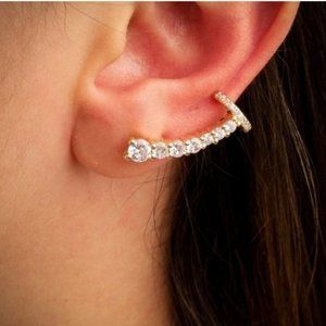 Gold Filled Cubic Zirconia Ear Climbers